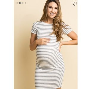 Fitted Grey stripe maternity dress